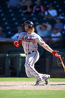 Salt River Rafters Dustin Peterson (16), of the Atlanta Braves organization, during a game against the Surprise Saguaros on October 17, 2016 at Surprise Stadium in Surprise, Arizona.  Surprise defeated Salt River 3-1.  (Mike Janes/Four Seam Images)