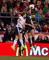 Rachel Buehler (16) of the USWNT goes up for a header with Helen Collins (20) of New Zealand during an international friendly at Crew Stadium in Columbus, OH. The USWNT tied New Zealand, 1-1.