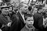 Skinhead National Front march through Southwark South London 1980s. Banner say Defend Our Old Folk Repatriate Muggers. 1980 UK