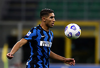 Calcio, Serie A: Inter Milano - AC Milan , Giuseppe Meazza (San Siro) stadium, in Milan, October 17, 2020.<br /> Inter's Acrhaf Hakimi in action during the Italian Serie A football match between Inter and Milan at Giuseppe Meazza (San Siro) stadium, October 17,  2020.<br /> UPDATE IMAGES PRESS/Isabella Bonotto