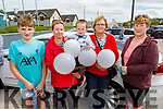 Cody Walsh, Callum Walsh, Noreen and Trease Mahoney and Marion Mulvihill supporting the Maurice McCrohan Memorial Balloon Fundraiser in Ballyheigue on Monday, for the Kerry Palliative Care Unit