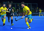 Australia's Tim Brand in action during the Sentinel Homes Trans Tasman Series hockey match between the New Zealand Black Sticks Men and the Australian Kookaburras at Massey University Hockey Turf in Palmerston North, New Zealand on Tuesday, 1 June 2021. Photo: Dave Lintott / lintottphoto.co.nz
