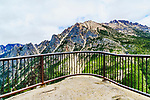 Washington Pass Overlook, off State Route 20 near the summit of Washington Pass, offers views of SR 20, North Cascade peaks, Liberty Bell Mountain, and Early Winters Spires.  North Cascades National Park, Okanogan-Wenatchee National Forest