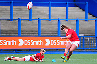 Lleucu George of Wales kicks a conversion during the Women's Six Nations match between Wales and Ireland at Cardiff Arms Park, Cardiff, Wales, UK. Sunday 17 March 2019