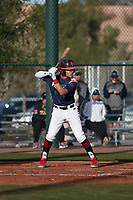 Harold Coll (4) of Cathedral High School in Hyde Park, Massachusettes during the Baseball Factory All-America Pre-Season Tournament, powered by Under Armour, on January 14, 2018 at Sloan Park Complex in Mesa, Arizona.  (Freek Bouw/Four Seam Images)