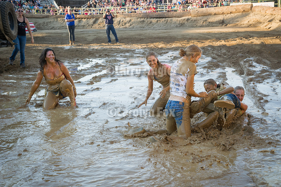 4th day of the 76th Amador County Fair, Plymouth, Calif.<br /> <br /> Miss Amador and her court and the driver of the most Beautiful Car dive into the mud at the Destruction Derby