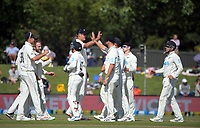 The Black Caps celebrate a wicket during day four of the second International Test Cricket match between the New Zealand Black Caps and Pakistan at Hagley Oval in Christchurch, New Zealand on Wednesday, 6 January 2021. Photo: Dave Lintott / lintottphoto.co.nz