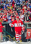 31 December 2013: Former Detroit Red Wings defenseman Nicklas Lidstrom (5) waves to the crowd with his stick as he is introduced before the Toronto Maple Leafs v Detroit Red Wings Alumni Showdown hockey game, at Comerica Park, in Detroit, MI.