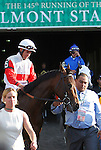 June 8, 2013. Belmont contender Orb, Joel Rosario up, enters the track for the post parade. Palace Malice, Mike Smith up, wins the Belmont Stakes at Belmont Park, Elmont, New York. Trainer is Todd Pletcher (Joan Fairman Kanes/Eclipse Sportswire)