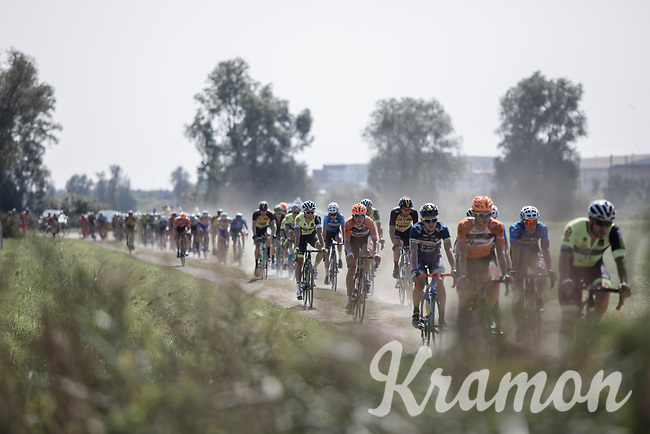 peloton over the gravel<br /> <br /> 92th Schaal Sels 2017