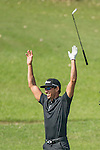 Rafael Cabrera Bello of Spain celebrates after scoring an eagle (2 under par) at the 10th hole during the 58th UBS Hong Kong Golf Open as part of the European Tour on 08 December 2016, at the Hong Kong Golf Club, Fanling, Hong Kong, China. Photo by Vivek Prakash / Power Sport Images