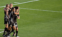 FC Gold Pride players celebrate after Leigh Ann Robinson's goal. FC Gold Pride defeated Sky Blue FC 1-0 at Buck Shaw Stadium in Santa Clara, California on May 3, 2009.