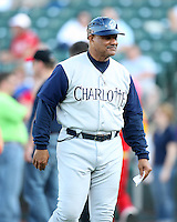 Charlotte Knights Manager Chris Chambliss during a game vs. the Rochester Red Wings at Frontier Field in Rochester, New York;  June 17, 2010.   Charlotte defeated Rochester by the score of 9-2.  Photo By Mike Janes/Four Seam Images