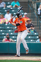 Norfolk Tides first baseman Trey Mancini (21) at bat during a game against the Rochester Red Wings on July 17, 2016 at Frontier Field in Rochester, New York.  Rochester defeated Norfolk 3-2.  (Mike Janes/Four Seam Images)