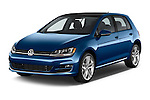 2014 Volkswagen Golf SEL 5 Door Hatchback angular front stock photos of front three quarter view