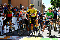 8th July 2021; Nimes, France; VAN AERT Wout (BEL) of JUMBO - VISMA, QUINTANA Nairo (COL) of TEAM ARKEA - SAMSIC, POGACAR Tadej (SLO) of UAE TEAM EMIRATES,  CAVENDISH Mark (GBR) of DECEUNINCK - QUICK-STEP, VINGEGAARD Jonas (DEN) of JUMBO-VISMA  during stage 12 of the 108th edition of the 2021 Tour de France cycling race, a stage of 159,4 kms between Saint-Paul-Trois-Chateaux and Nimes.
