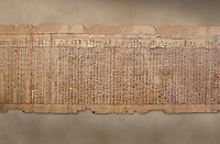 Ancient Egyptian Book of the Dead papyrus - Spell 17 about the God Atum, Iufankh's Book of the Dead, Ptolemaic period (332-30BC).Turin Egyptian Museum. <br /> <br /> the spell is one of the ongest in the Book of the Dead and one of its most complex frequently used in many other Books of the Dead. It is about the nature of the creator God Atum and is meant to make sure the deceased is capable of demonstrating his of her knowledge of religious secrets<br /> <br /> The translation of  Iuefankh's Book of the Dead papyrus by Richard Lepsius marked a truning point in the studies of ancient Egyptian funereal studies.