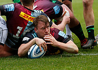 20th March 2021; Twickenham Stoop, London, England; English Premiership Rugby, Harlequins versus Gloucester; Harlequins, Gloucester; Alex Dombrandt of Harlequins scores after a heavily contested rolling maul