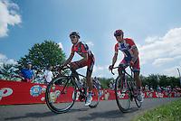 """teammates Greg Van Avermaet (BEL/BMC) & Thor Hushovd (NOR/BMC) up le """"Petit Poggio"""" <br /> <br /> 2014 Belgium Tour<br /> stage 4: Lacs de l'Eau d'Heure - Lacs de l'Eau d'Heure (178km)"""