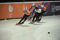 SPEEDSKATING: DORDRECHT: 05-03-2021, ISU World Short Track Speedskating Championships, QF 1500m Men, Sjinkie Knegt (NED), Itzhak de Laat (NED), Reinis Berzins (LAT), Konstantin Ivliev (RSU), ©photo Martin de Jong
