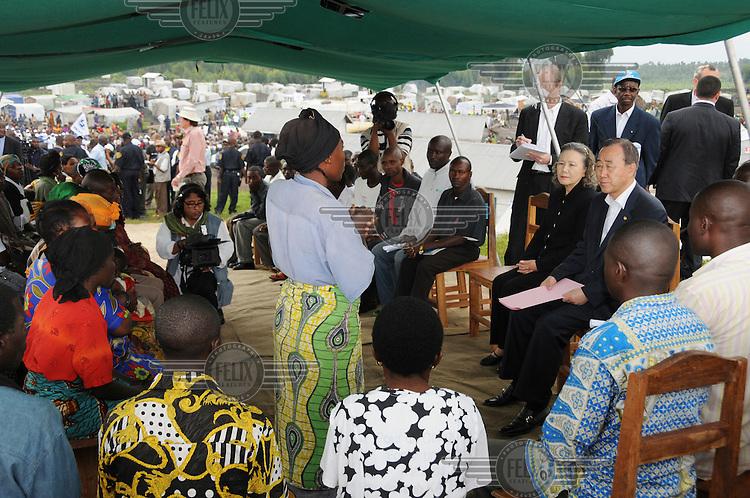 UN Secretary General, Ban Ki-Moon, listens to testimonies from people in the Kibati IDP (Internally Displaced Persons) camp.