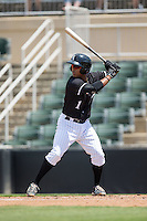 Dante Flores (1) of the Kannapolis Intimidators at bat against the Lakewood BlueClaws at Kannapolis Intimidators Stadium on May 8, 2016 in Kannapolis, North Carolina.  The Intimidators defeated the BlueClaws 3-2.  (Brian Westerholt/Four Seam Images)