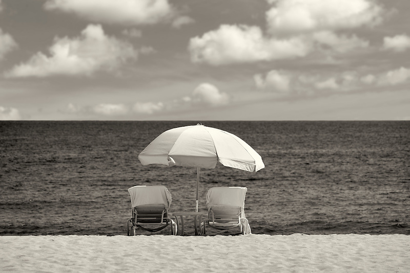 Beach umbrella and chairs. Beach at Four Seasons, Lanai, Hawaii.