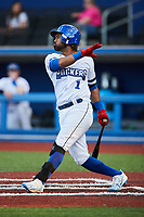 Giovanny Alfonzo (1) of the High Point Rockers follows through on his swing against the Lexington Legends at Truist Point on June 16, 2021, in High Point, North Carolina. The Legends defeated the Rockers 2-1. (Brian Westerholt/Four Seam Images)