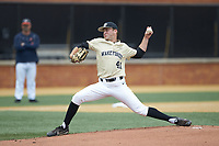 Wake Forest Demon Deacons starting pitcher Jared Shuster (41) in action against the Virginia Cavaliers at David F. Couch Ballpark on May 19, 2018 in  Winston-Salem, North Carolina. The Demon Deacons defeated the Cavaliers 18-12. (Brian Westerholt/Four Seam Images)