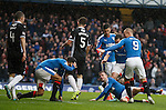 Andy Halliday celebrates his goal and collides with Harry Forrester in the process