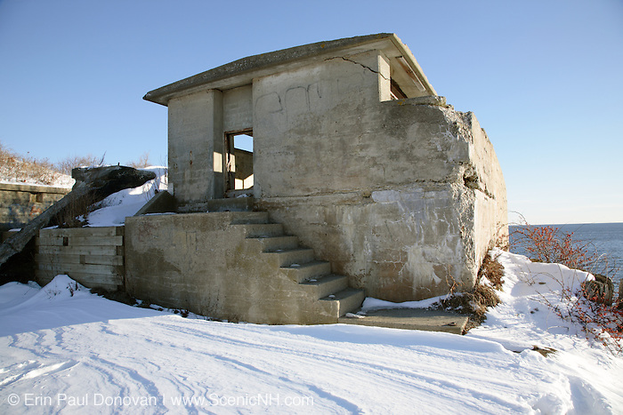Remains of bunker at Fort Williams Park during the winter months. Located in Cape Elizabeth, Maine USA,  which is part of the New England seacoast.  .Notes: