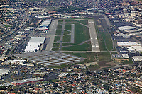 aerial photograph of Zamperini Field, Torrance Municipal airport (TOA) runways 29L and 29R, Torrance, California