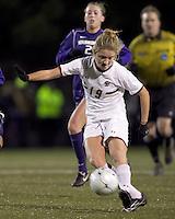 "Boston College forward Kristen Mewis (19) shoots the ball. In overtime, Boston College defeated University of Washington, 1-0, in NCAA tournament ""Elite 8"" match at Newton Soccer Field, Newton, MA, on November 27, 2010."
