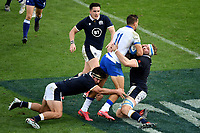 Mattia Bellini of Italy is blocked by Stuart McInally and Jonny Gray of Scotland Nick Haining during the rugby Autumn Nations Cup's match between Italy and Scotland at Stadio Artemio Franchi on November 14, 2020 in Florence, Italy. Photo Andrea Staccioli / Insidefoto