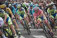 maglia rosa Alberto Contador (ESP/Tinkoff-Saxo is escorted through the stage by his ever present teammates<br /> <br /> Giro d'Italia 2015<br /> final stage 21: Torino - Milano (178km)