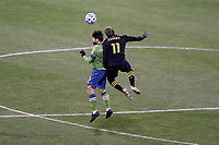 COLUMBUS, OH - DECEMBER 12: Joao Paulo #6 of the Seattle Sounders FC and Gyasi Zardes #11 of the Columbus Crew challenge for a header during a game between Seattle Sounders FC and Columbus Crew at MAPFRE Stadium on December 12, 2020 in Columbus, Ohio.