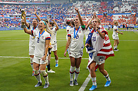 LYON, FRANCE - JULY 07: Julie Ertz #8, Alex Morgan #13, Allie Long #20 after the 2019 FIFA Women's World Cup France final match between the Netherlands and the United States at Stade de Lyon on July 07, 2019 in Lyon, France.