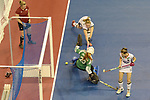 Berlin, Germany, February 10: During the FIH Indoor Hockey World Cup semi-final match between Belarus (dark blue) and Germany (white) on February 10, 2018 at Max-Schmeling-Halle in Berlin, Germany. Final score 2-3. (Photo by Dirk Markgraf / www.265-images.com) *** Local caption *** Nike LORENZ #4 of Germany, Maryna NAVITSKAYA #20 of Belarus, Cecile PIEPER #22 of Germany