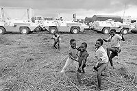 - Mozambique 1993, UN intervention after the Civil War, vehicles parking of Italian army near the village of Chimoio, Sofala province  <br /> <br /> - Mozambico 1993, intervento ONU dopo la guerra civile, parcheggio automezzi dell'esercito italiano presso il villaggio di Chimoio, provincia di Sofala
