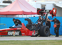 Sep 2, 2017; Clermont, IN, USA; NHRA top fuel driver Kebin Kinsley during qualifying for the US Nationals at Lucas Oil Raceway. Mandatory Credit: Mark J. Rebilas-USA TODAY Sports