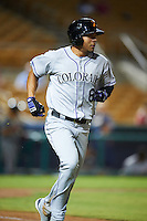 Salt River Rafters Noel Cuevas (8), of the Colorado Rockies organization, during a game against the Glendale Desert Dogs on October 19, 2016 at Camelback Ranch in Glendale, Arizona.  Salt River defeated Glendale 4-2.  (Mike Janes/Four Seam Images)