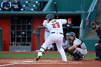 Lansing Lugnuts catcher Alejandro Kirk (23) during a Midwest League game against the Wisconsin Timber Rattlers at Cooley Law School Stadium on May 1, 2019 in Lansing, Michigan. Wisconsin defeated Lansing 2-1 in the second game of a doubleheader. (Zachary Lucy/Four Seam Images)