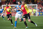 Partick Thistle v St Johnstone…10.09.16..  Firhill  SPFL<br />Liam Lindsay battles with Paul Paton<br />Picture by Graeme Hart.<br />Copyright Perthshire Picture Agency<br />Tel: 01738 623350  Mobile: 07990 594431