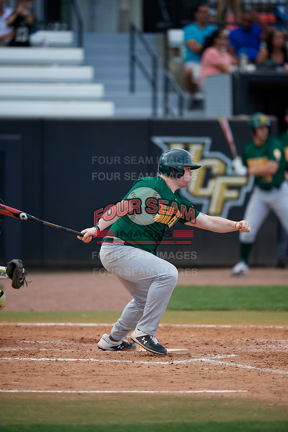 Siena Saints pinch hitter Nico Ramos (44) follows through on a swing during a game against the UCF Knights on February 17, 2019 at John Euliano Park in Orlando, Florida.  UCF defeated Siena 7-1.  (Mike Janes/Four Seam Images)