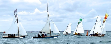 The Howth Seventeens at the lee mark in Saturday's cloudier spell