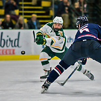 21 November 2017: University of Vermont Catamount forward Max Kaufman takes a shot in the second period against the University of Connecticut Huskies at Gutterson Fieldhouse in Burlington, Vermont. The Huskies defeated the Catamounts 4-1 in Hockey East play. Mandatory Credit: Ed Wolfstein Photo *** RAW (NEF) Image File Available ***