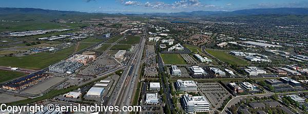 aerial photograph of interstate I-580 and the Hacienda Business Park, Pleasanton, Alameda County, California
