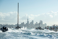 17th March 2021; Waitemata Harbour, Auckland, New Zealand;  Emirates Team New Zealand tow Te Rehutai home for the last time after winning the America's Cup against Luna Rossa Prada Pirelli Team 7 - 3.  Wednesday the 17th of March 2021.