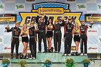 IMSA Continental Tire SportsCar Challenge<br /> Biscuitville Grand Prix<br /> Virginia International Raceway, Alton, VA USA<br /> Saturday 26 August 2017<br /> 44, Nissan, Altima, ST, Sarah Cattaneo, Owen Trinkler, 84, BMW, BMW 328i, James Clay, Tyler Cooke, 75, Audi, Audi S3, Roy Block, Pierre Kleinubing, celebrate on the podium in victory lane<br /> World Copyright: Scott R LePage<br /> LAT Images