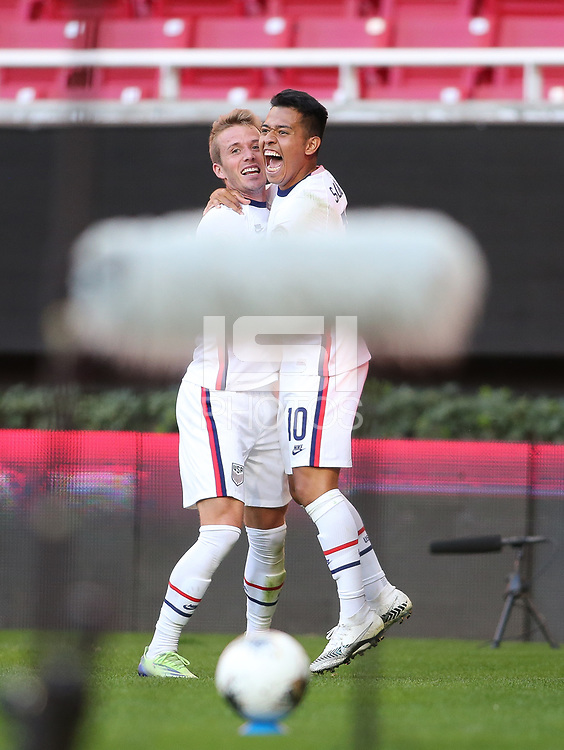 ZAPOPAN, MEXICO - MARCH 21: Jackson Yueill #6 and Sebastian Saucedo #10 of the United States celebrate Yueill's goal during a game between Dominican Republic and USMNT U-23 at Estadio Akron on March 21, 2021 in Zapopan, Mexico.